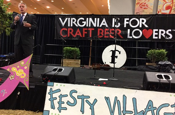 Gov. Terry McAuliffe speaks at the Virginia's Finest Reception in the Virginia Craft Beer Festy hospitality suite at the Craft Brewers Conference & BrewExpo America.