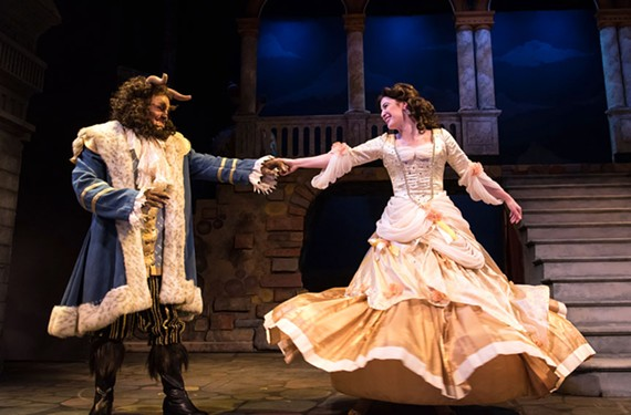 "Matt Polson as the Beast and Chauncey Trask as Belle in Virginia Rep's ""Disney's Beauty and the Beast,"" which hasn't lost its well-honed appeal."