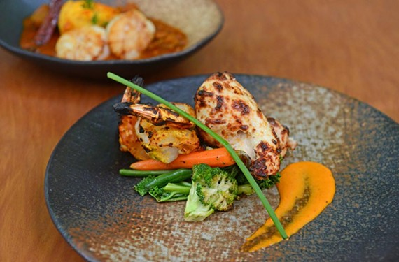 The tandoori-grilled shrimp and chicken zafrani at Lehja.