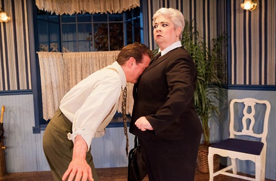 "Richard Koch is a delight as scheming landlord Eric Swan and Chandler Hubbard creates mayhem as a social worker in Swift Creek Mill's ""Cash on Delivery."""