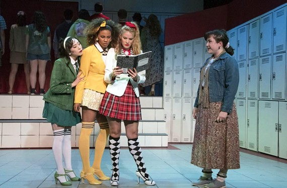 Kathy Oh as Heather Duke, Michaela Nicole as Heather McNamara, and Christie Jackson as Heather Chandler do great work as the three cruel Heathers, and Carmen Wiley is the outstanding lead as the conscientious Veronica Sawyer in a musical comedy from Firehouse Theater and TheatreLab.