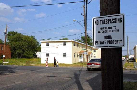A sign at Gilpin Court lets people know that it belongs to the Richmond Redevelopment and Housing Authority.