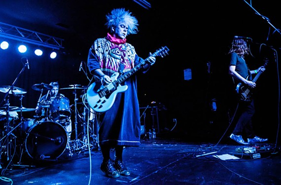 Guitarist Buzz Osborne in typical stage attire with longtime drummer Dale Crover and a relatively new bassist, Steven McDonald, a founder of Red Kross. Known for its pummeling mix of punk and metal, the Melvins are returning to Richmond after a long hiatus.