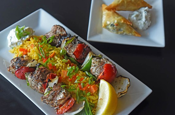Demi's Mediterranean Kitchen's menu takes diners on a trip through the region, but the restaurant excels with its Greek dishes, such as pork and chicken  souvlaki, pictured here.