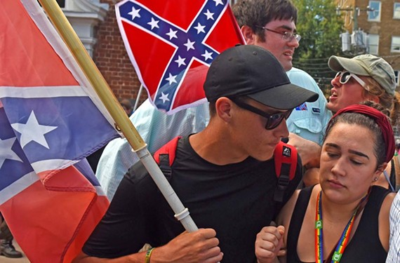 White supremacists confront counterprotesters in Charlottesville.