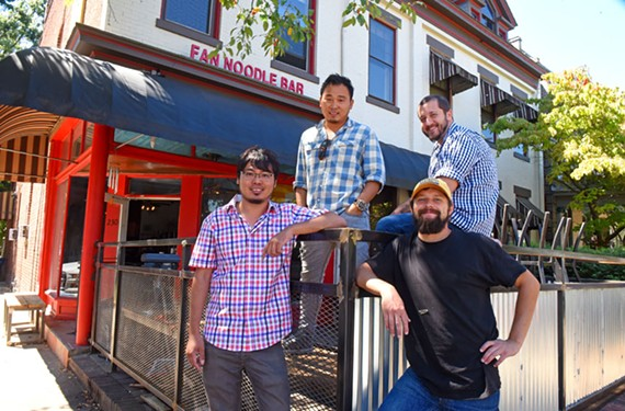 Sonny and Joe Kiatsuranon, along with Rob Smith and Alex Bailey (clockwise), are readying Pik Nik, a new restaurant that will open in the Fan Noodle Bar space.