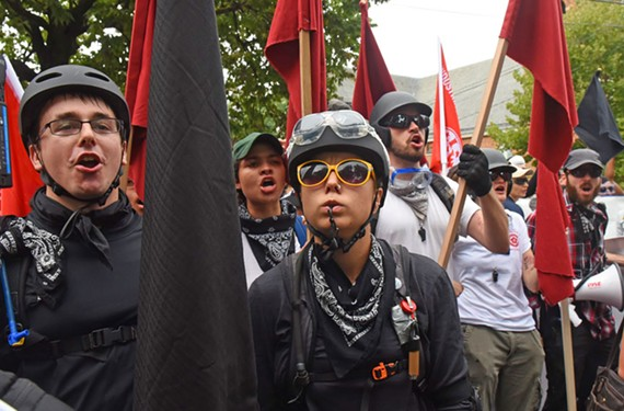 Antifa members joined the counter-protestors in August who faced off with Unite the Right marchers in Charlottesville.