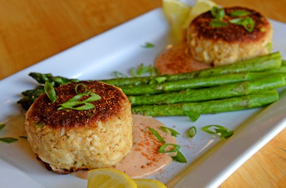 Two petite yet fat crab cakes seduce with their golden brown exterior and plus-sized crab meat at Plant Zero Cafe.