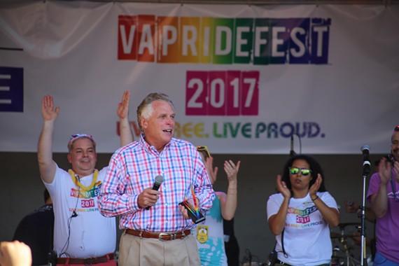 Virginia Gov. Terry McAuliffe speaks after receiving an award at Virginia PrideFest 2017.