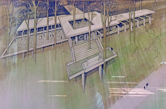 Chippokes Plantation State Park Visitor Center on the James River shoreline, pastel and ink, 1967.