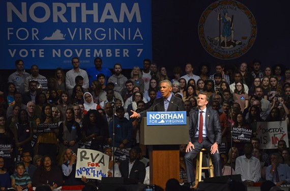 Former President Barack Obama woos a Richmond crowd on Oct. 19 in support of gubernatorial candidate Lt. Gov. Ralph Northam.