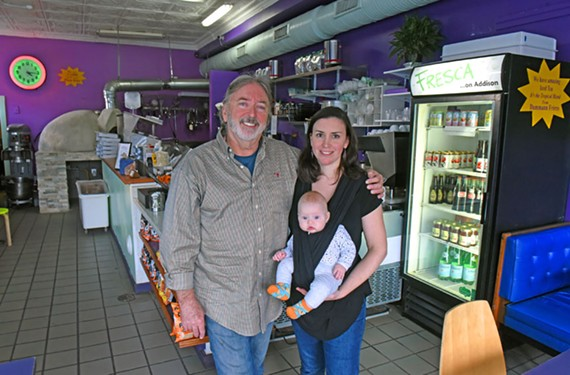 Jimmy Sneed and daughter Jenna, here with her daughter Lyra Chew, opened the vegetarian restaurant Fresca seven years ago.
