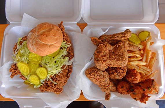 You can go basic with Mean Bird's Bird King sandwich (also available vegan) with a fat boneless breast of fried chicken on a fresh bun or opt for a four-piece box with Cajun fries and sweet pea hushpuppies.