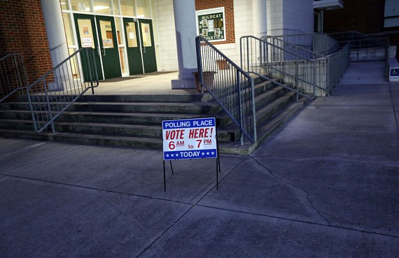 Voting was light at Great Bridge Middle School in Chesapeake, Virginia, during the early morning hours of Election Day.