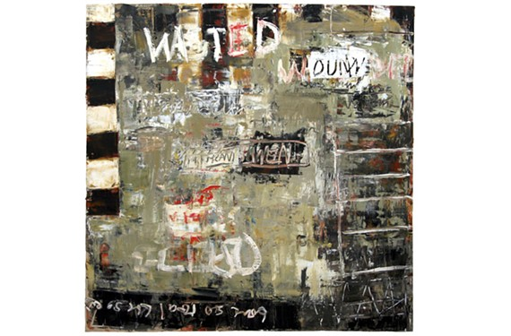 """Recently departed artist Bill Fisher's """"Wasted and Wounded"""" takes its title from a famous Tom Waits song, """"Tom Traubert's Blues (Four Sheets to the Wind in Copenhagen"""")."""