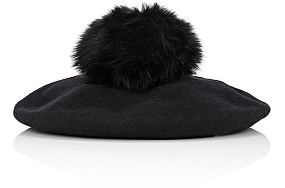 Barneys New York pom-pom embellished wool beret