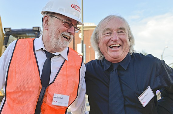 """Joe Seipel is pictured here standing alongside the architect (or as some call him, """"star-chitect"""") for the Institute for Contemporary Art, Steven Holl."""