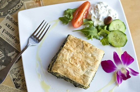 Flaky, buttery spanakopita is a classic Greek appetizer at Athens Tavern.