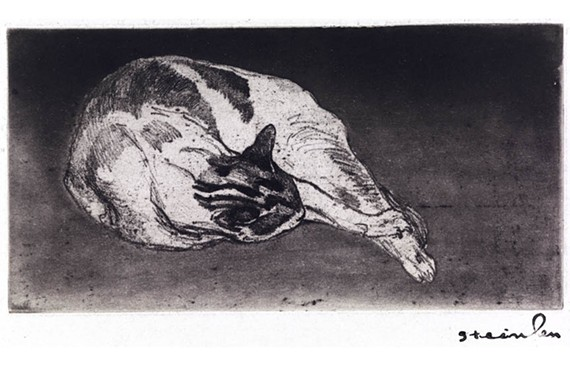 """Reclining Cat, Head Resting on his Paws,"" a 1902 drawing by artist Théophile-Alexandre Steinlen, is one of many felines featured in the VMFA's ""Steinlen: Cats."" The exhibit is a collaboration with concurrent University of Richmond exhibit, ""Steinlen: Humanity."""