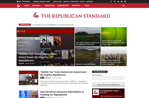 This  screen shot is of a front page from the Republican Standard blog edited by Shaun Kenney, a former executive director of the Virginia GOP.