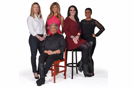 Women in local media: Paige Mudd, executive editor of the Richmond Times-Dispatch, Jean Boone, publisher of the Richmond Free Press, Nikki-Dee Ray, meteorologist for WTVR CBS-6,  Melissa Chase, morning host at 103.7 Play, and Kelli Lemon, host of Coffee with Strangers podcast.