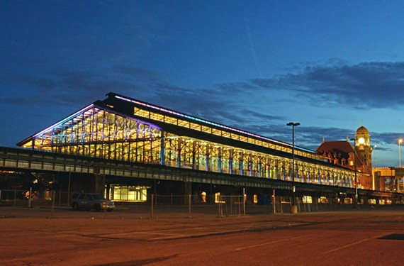 When seen after dark from East Broad Street, the now glass-enclosed Main Street Station train shed becomes a lanternlike beacon.