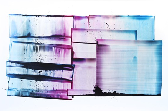 """""""High Note,"""" illustrates Sarah Irvin's use of colored ink on yupo, a waterproof, synthetic paper."""