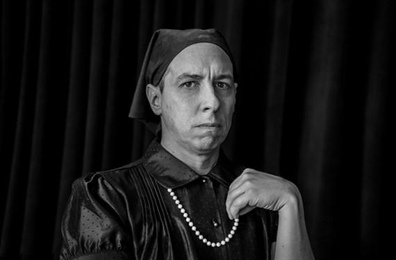 No, it's not American Gothic: It's veteran stage actor Scott Wichmann as Charlotte von Mahlsdorf, founder of the Gründerzeit Museum in Berlin.