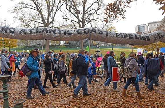 Protesters rallied at the Water Is Life demonstration at the Virginia Capitol in December.
