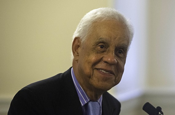 Former Gov. Douglas Wilder, shown here from an announcement in 2014.