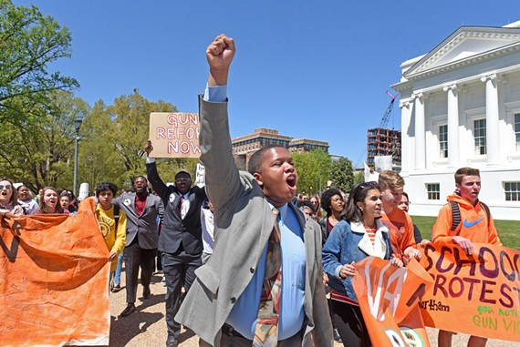 """You know that whatever affects our communities affects our schools,"" said Ta'Quan Grant, a Thomas Jefferson High School senior and school board candidate, during a gun violence protest on Friday, April 20."
