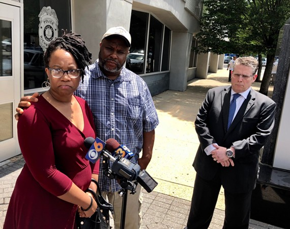 Princess Blanding, Jeffrey Peters and Jonathan Halperin address the media after viewing the body cam footage of Marcus Peters' death.