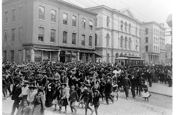 A Richmond street fills with people during Emancipation Day in 1905. Elegba Folklore Society's Janine Bell says Juneteenth is a reminder of freedom and liberation.