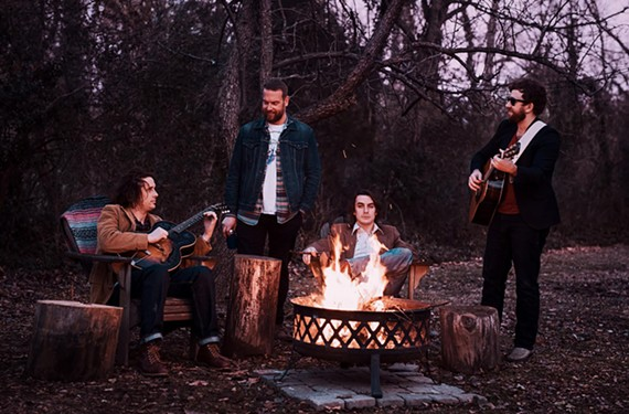 The band Villages includes a fairly consistent lineup of Corey Wells on guitar, Stephen Lecky on drums, Zachary Hudgins on bass and songwriter Justin Paciocco on guitar and vocals.