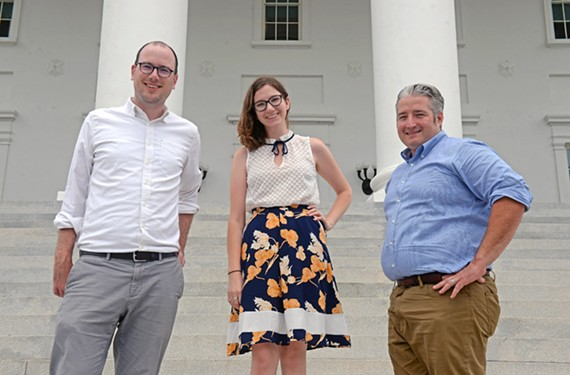 Former Richmond Times-Dispatch reporters Ned Oliver, Katie O'Connor and Robert Zullo will lead the charge at the Virginia Mercury, which launches online next month. Not pictured is reporter Mechelle Hankerson, formerly of the Virginian-Pilot.