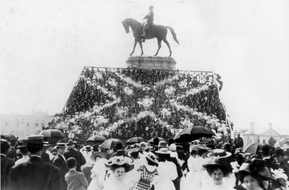 May 30, 1907: A crowd of Richmonders takes the shape of a Confederate flag in front of the Lee Monument during the unveiling of the Jeb Stuart Monument in an image provided by the Valentine.