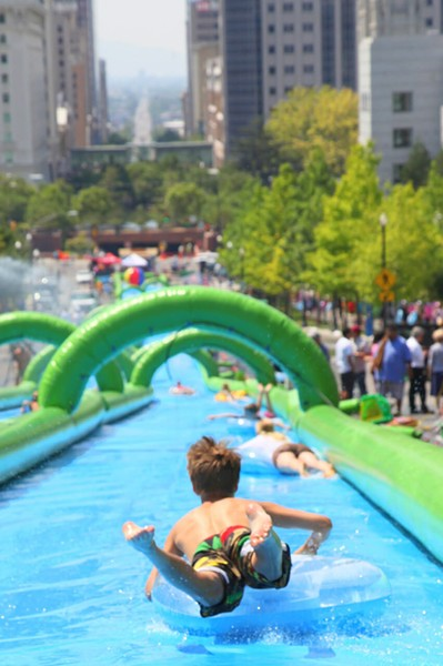 What's the most you've ever lost on a water slide? Sorry, I mean, what's the longest you've ever slid on your face in a water slide?