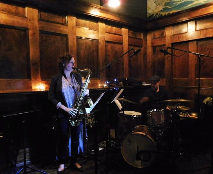 Brooklyn jazz musician Anna Webber and her drummmer, John Hollenbeck, at Black Iris's Tiny Bar.