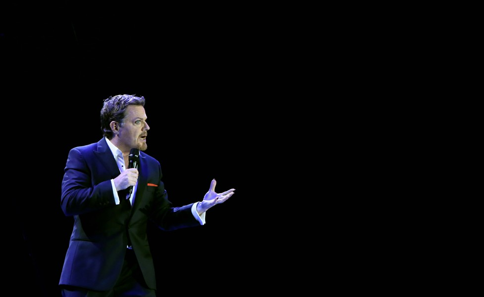 "Eddie Izzard in a publicity image from his ""Force Majeure"" tour."