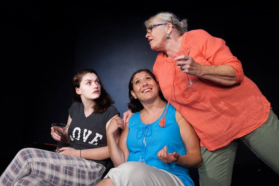 "Aiden Orr plays Avery, and Sara Heifetz as Gwen, and Linda Beringer as Alice in 5th Wall Theatre's 2016 - 2017 Season opening production ""Rapture, Blister, Burn."" - DANNY HOLCOMB"