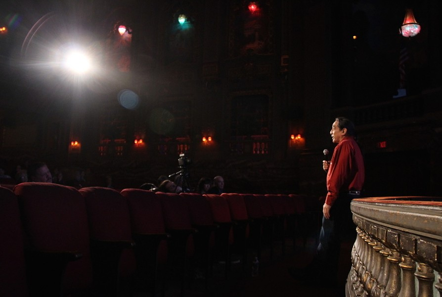"""Stuntman George Aguilar delivered an emotional talk in preview of the inaugural """"Pocahontas Reframed"""" film festival to be held in Richmond Nov. 17 through 19. Aguilar spoke lovingly of his parents and how they helped inspire his life. - VINCENT SCHILLING"""