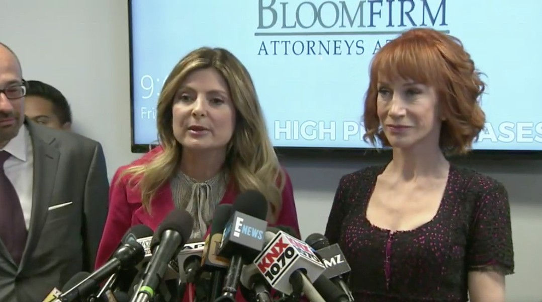 A screen grab from a press conference this morning featuring attorney Lisa Bloom and her client, Kathy Griffin, who complained of being bullied by the Trump family.