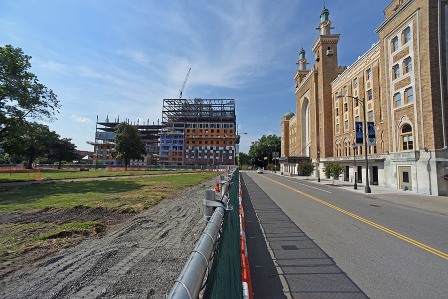 Renovations continue at Monroe Park next to the Altria Theater and new dorm construction at Virginia Commonwealth University. - SCOTT ELMQUIST