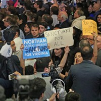 Election Night Protesters interrupted the evening, calling out Northam's stance on sanctuary cities. Charlotte Rene Woods