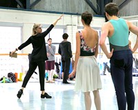 """Artistic Director Stoner Winslett leading Richmond Ballet dancers in rehearsal for """"Ancient Airs and Dances."""""""