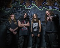 The current members of veteran death metal group Morbid Angel, based in Tampa, Florida: Dan Vadim Von, Trey Azagthoth, Scott Fuller and Steve Tucker.