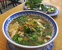The chicken pho, No. 17, features a refreshing lemony broth with tender slices of white meat.