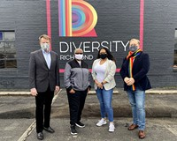 "The all-volunteer Virginia Pride is officially becoming a program of Diversity Richmond in a major merger. Shown here are Bill Harrison, Luise ""Cheezi"" Farmer, Stephanie Merlo and James R. Millner II."