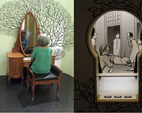 "A mirrored vanity teaches how the brain causes depression or psychosis. Right: A mini diorama on the history of London's Bethlem Royal Hospital – both part of the Science Museum's ""Mental Health: Mind Matters."""