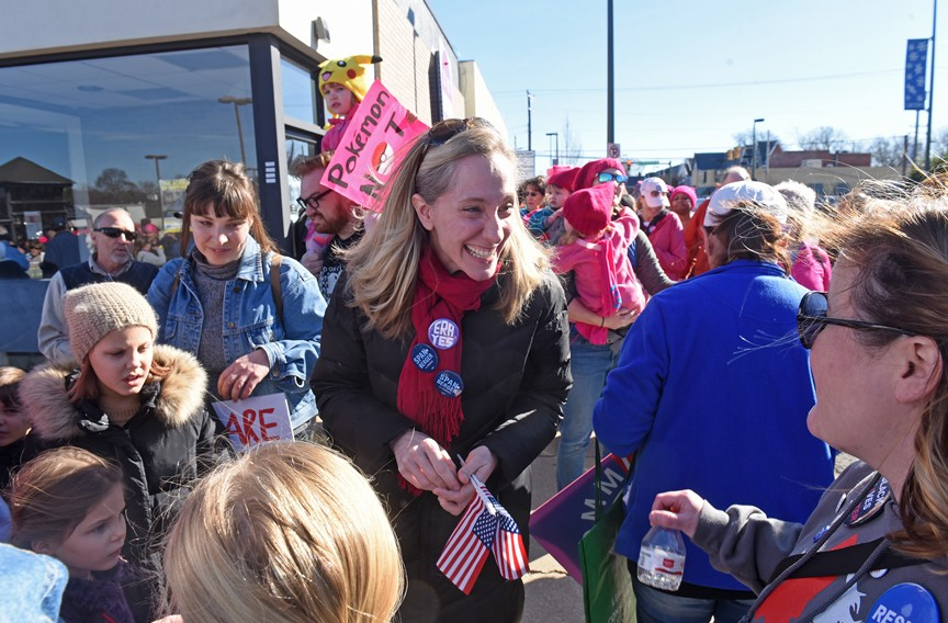 On Jan. 20, Abigail Spanberger greets supporters at the Women's March RVA in Carytown. Political observers believe the nomination process for Supreme Court Justice Brett Kavanaugh could help bring more women to the polls for Spanberger. - SCOTT ELMQUIST